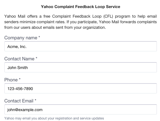 Yahoo Feedback Loop Application - contact information, including contact name and email address