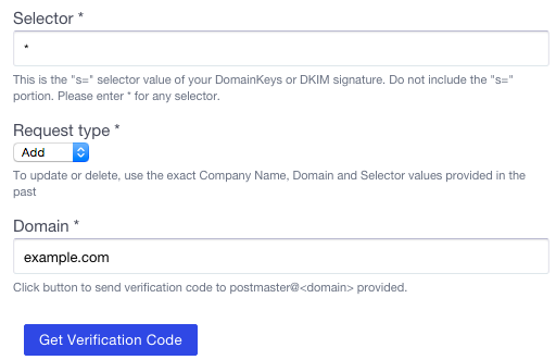 Yahoo Feedback Loop Application - DKIM key domain and selector to register